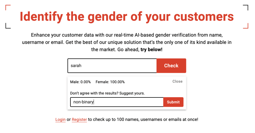 Screenshot of Genderify's new hompage, where after getting the results for a name there's an extra input box saying: Don't agree with the results, suggest yours. In the screenshot non-binary is entered as a correction for the name Sarah