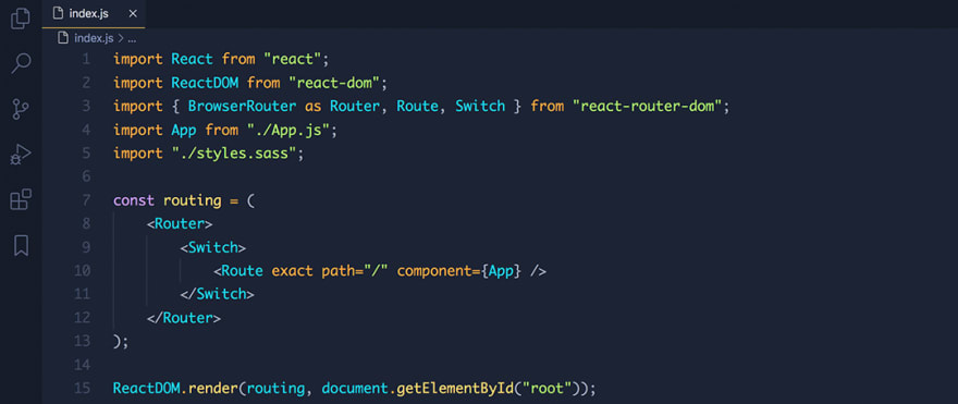 React code snippet with the Halcyon theme