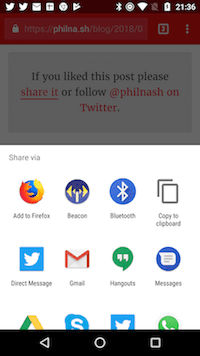 When you press the share button on Android, the share tray will appear.