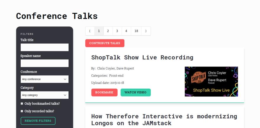Conference talks listed on ConfTalks