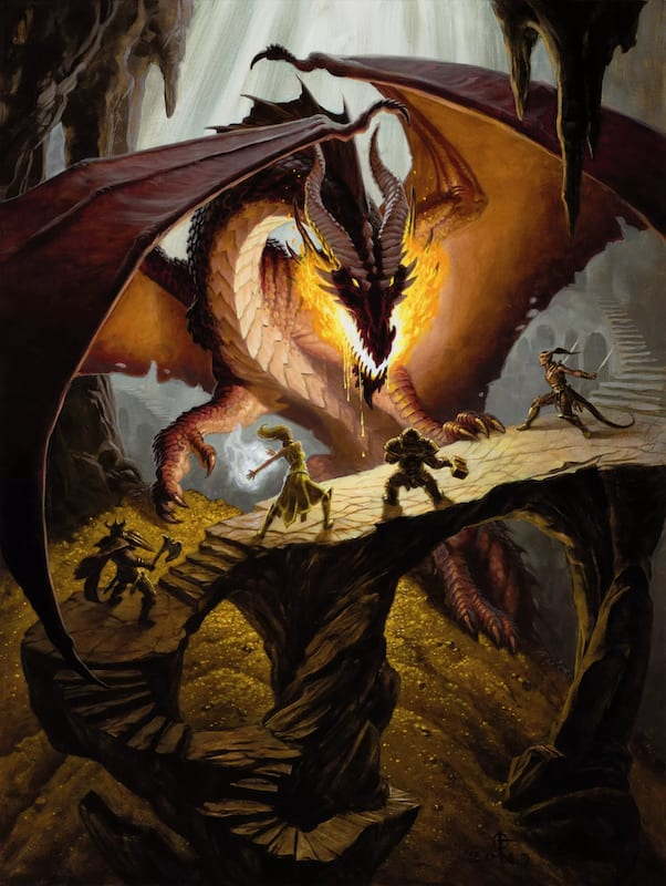 Four adventurers standing in front of a large dragon.