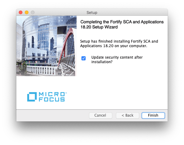 """Screenshot of an Apple Setup popup window. The pop up reads """"Completing the Fortify SCA and Applications 18.20 Setup Wizard. Setup has finished installing Fortify SCA and Applications 18.20 on your computer."""" There is a check box that has been marked for """"Update security contact after installation?"""""""