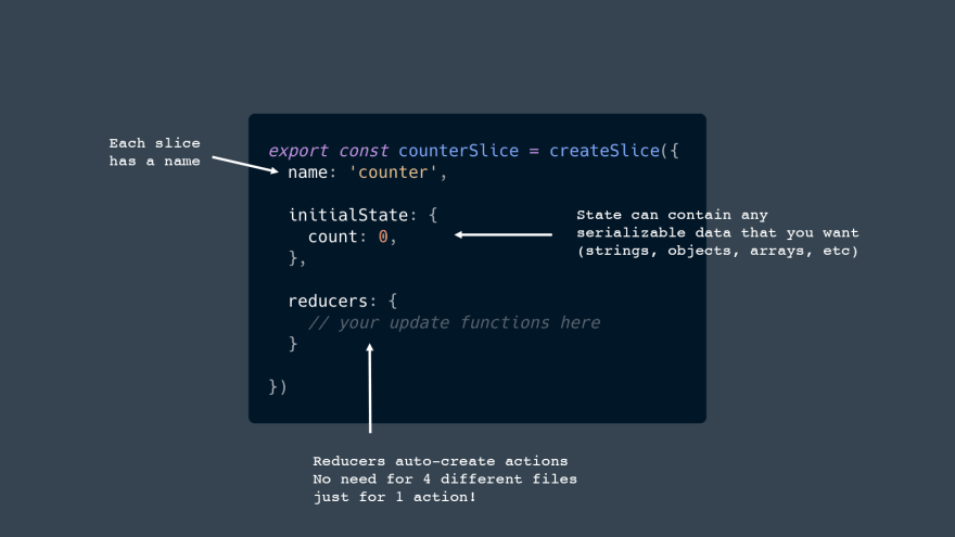 Each slice has a name. State can contain any serializable data that you want (strings, objects, arrays, etc). Reducers auto-create actions No need for 4 different files  just for 1 action!