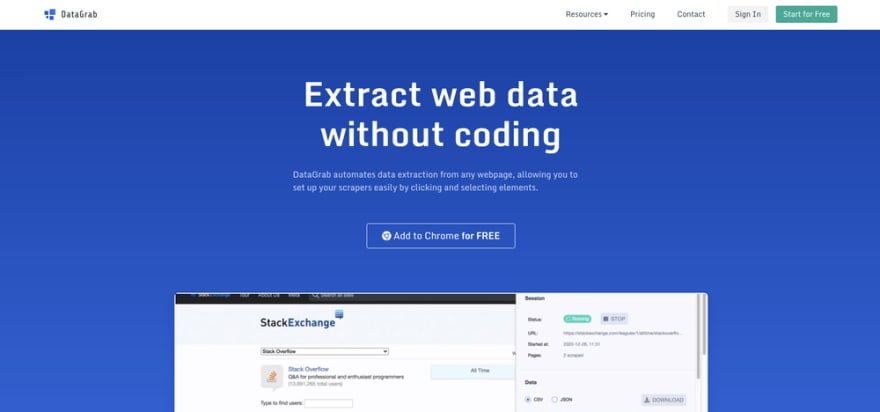 DataGrab - Extract web data at scale without coding