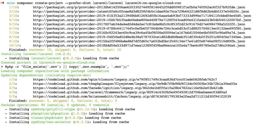 Install Laravel Output