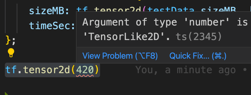 Code: 'tf.tensor2d(420)', showing error Argument of type 'number' is not assignable to parameter of type 'TensorLike2D', in VS Code