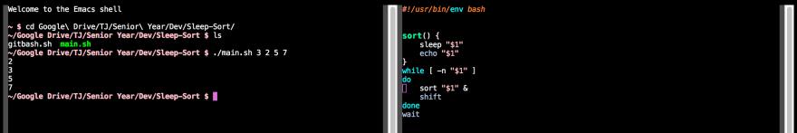 A screenshot of me running the code