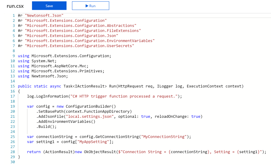 Azure Function in the portal