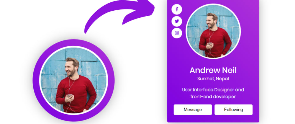 Cover image for Animated Profile Card UI Design with Hover Animation in HTML CSS & JavaScript