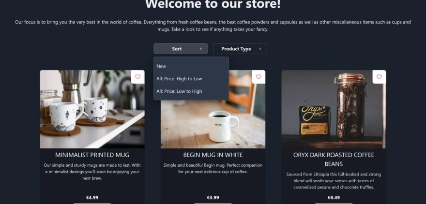 My store page in dark theme