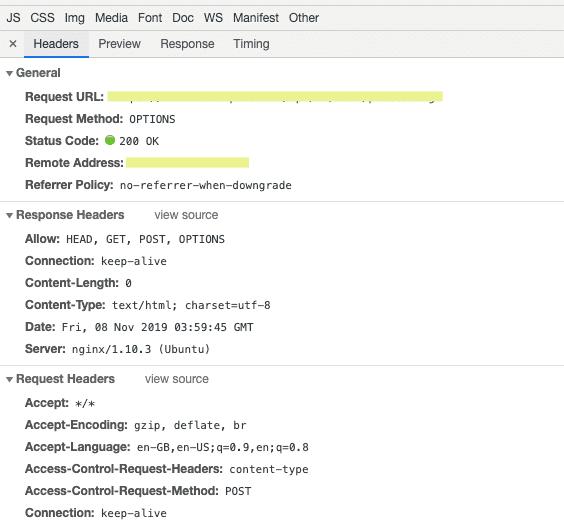browser screenshot, it's an OPTIONS call not a POST