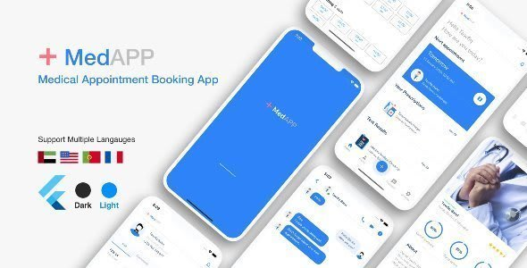 Flutter MedAPP: Medical Appointment Booking App<br> UI
