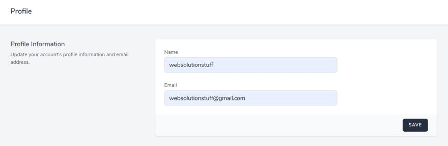 Laravel 8 Authentication using Jetstream Example Profile Page