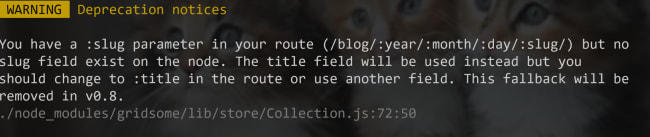 Notice about using slug versus title