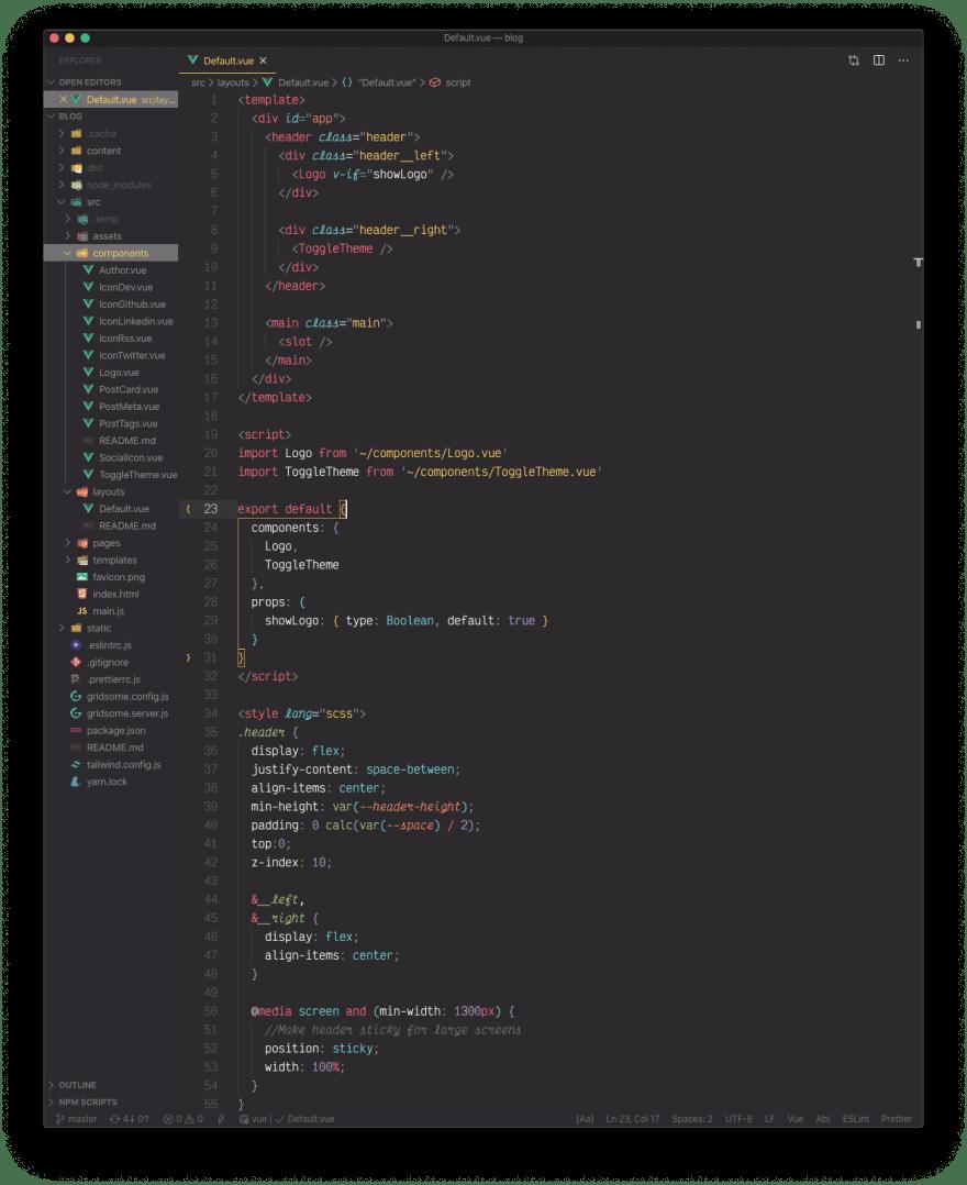 A Vue.js file with the monokai pro theme active