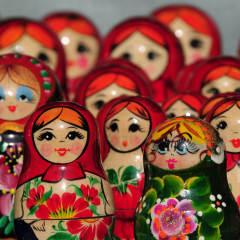 Colorful nesting matryoshka dolls