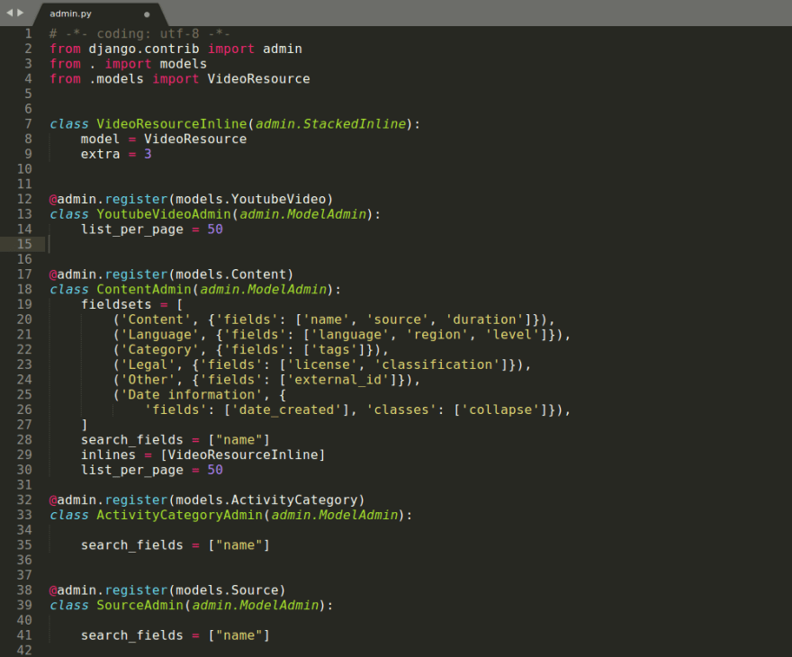 Administration metadata for database model