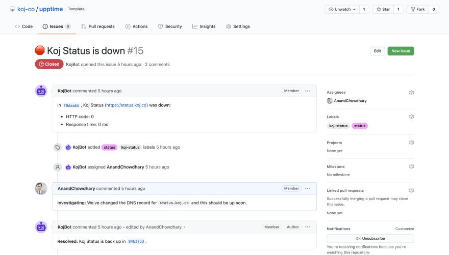 Screenshot of GitHub issue