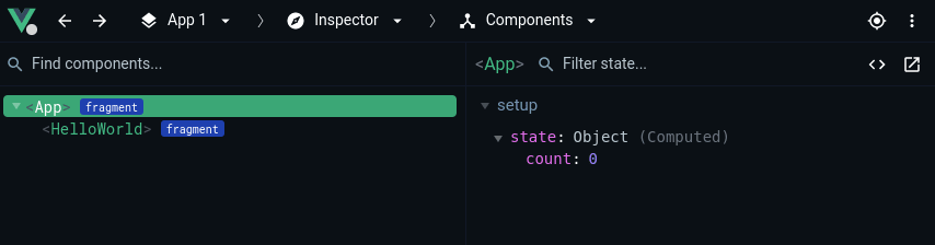 State only visible in the dev tools