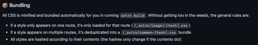 The general rules of bundling in Astro