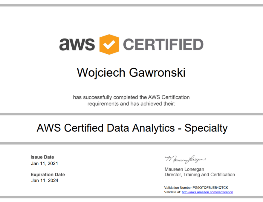 Image of my AWS Certified Data Analytics - Specialty Certificate