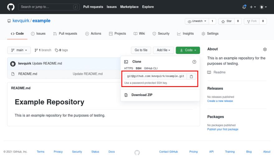 GitHub example repository
