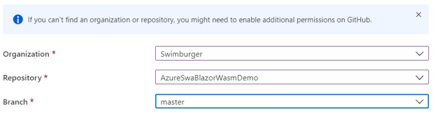 Screenshot of selecting GitHub repository in Azure Static Web App