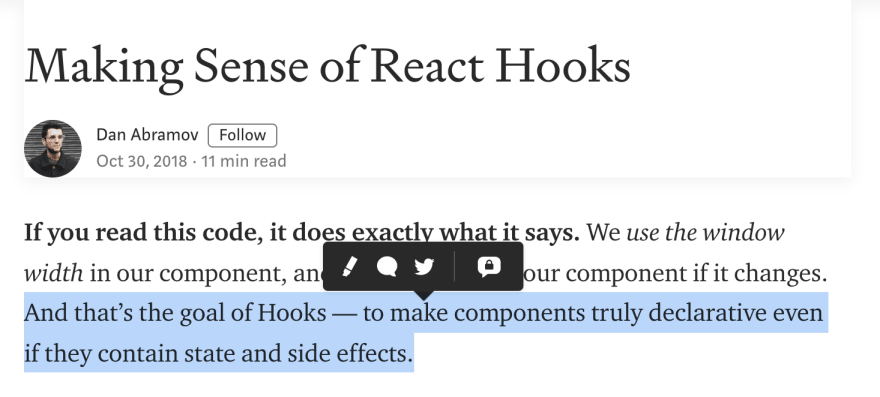 Hooks make components declarative even if they contain state or side-effects