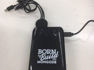 """""""Born to Build with MongoDB"""" battery pack"""