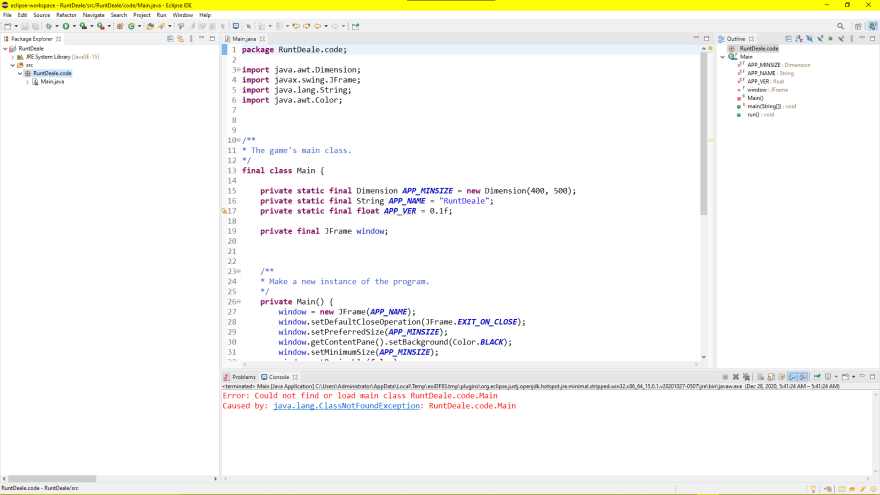 Image of Eclipse IDE raising an error (ClassNotFoundException).