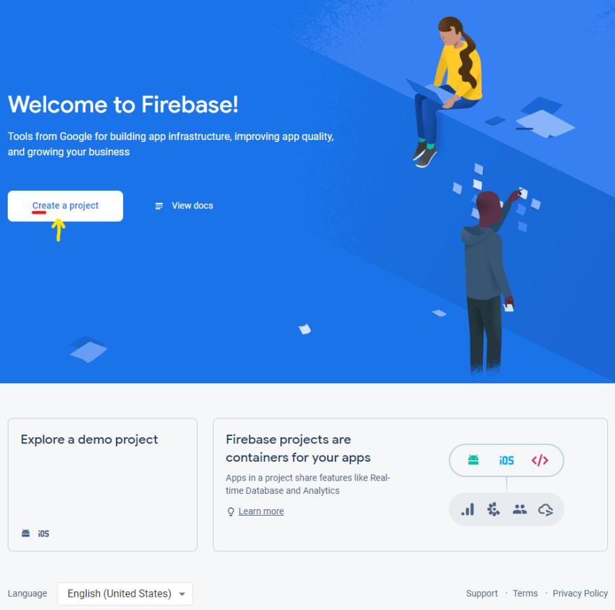 Firebase main screen