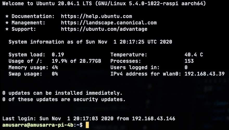 Figura 2 - Messaggio di benvenuto di Ubuntu Server all'accesso sul Raspberry Pi 4