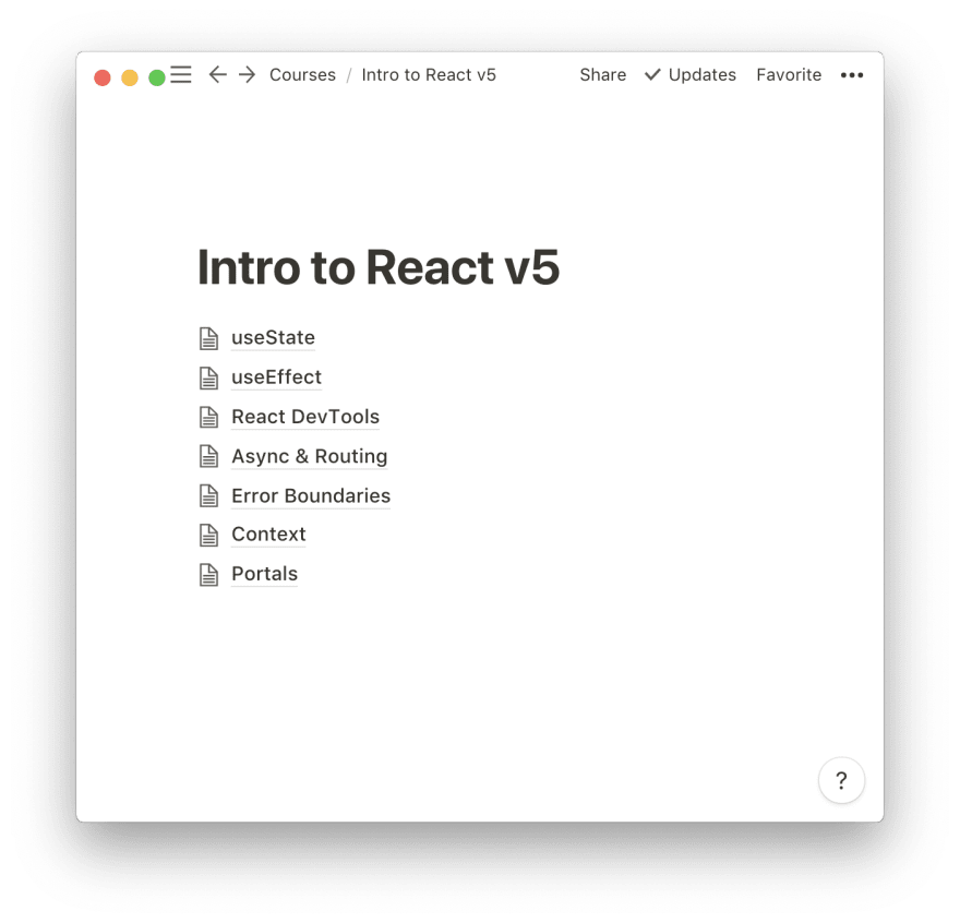 Table of Contents for Intro to React course