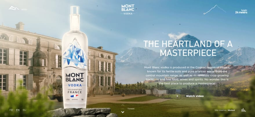 Mont Blanc Vodka has a very slow loading time, but the parallax design makes the brand look more sophisticated. [Check it out now](https://www.montblancvodka.com/en/#)!