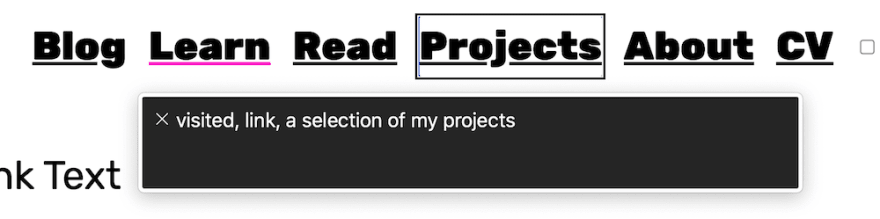 A screenshot of the VoiceOver for Chrome screen reader announcing the aria-label of the 'projects' link