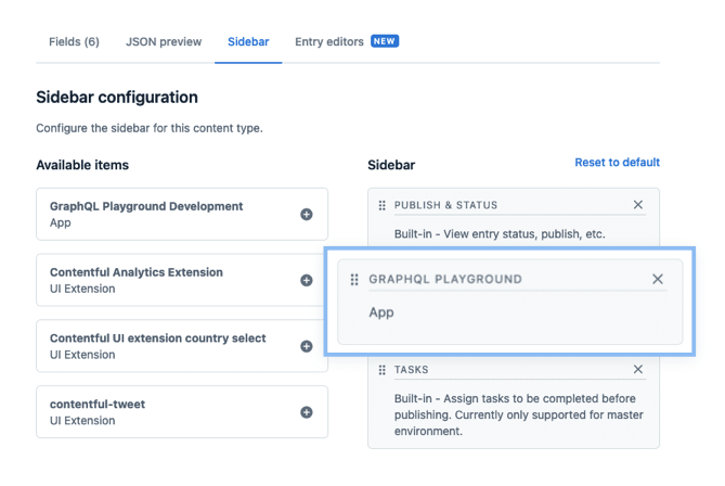 Screenshot of sidebar configuration interface