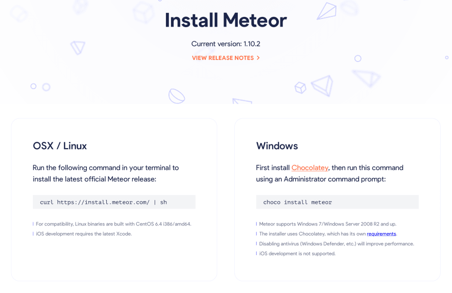 Meteor install page