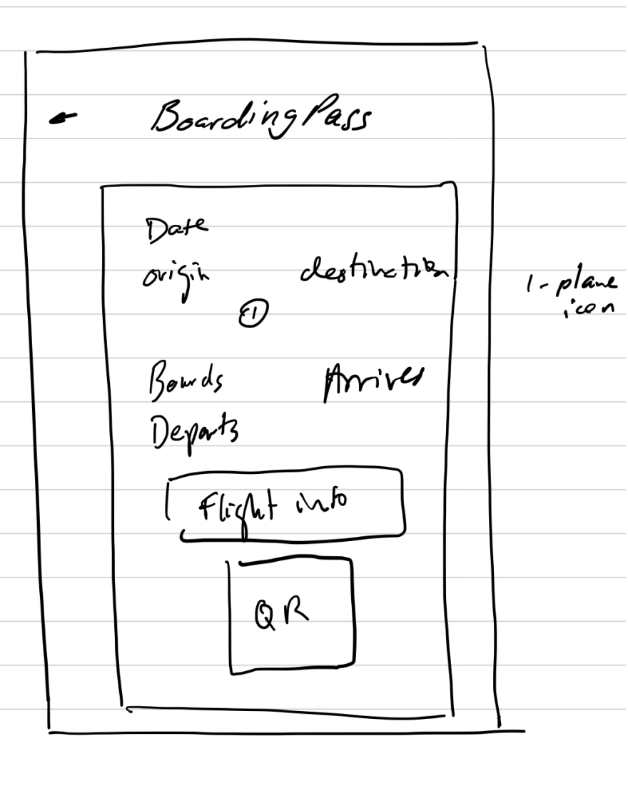 Low fidelity wireframe 1 of boarding pass design