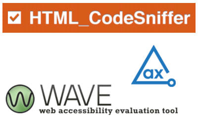 Logos of HTML_CodeSniffer, WebAIM Wave, and Axe