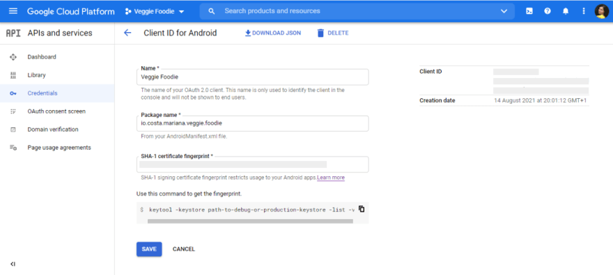 Google cloud platform form to get credentials for android
