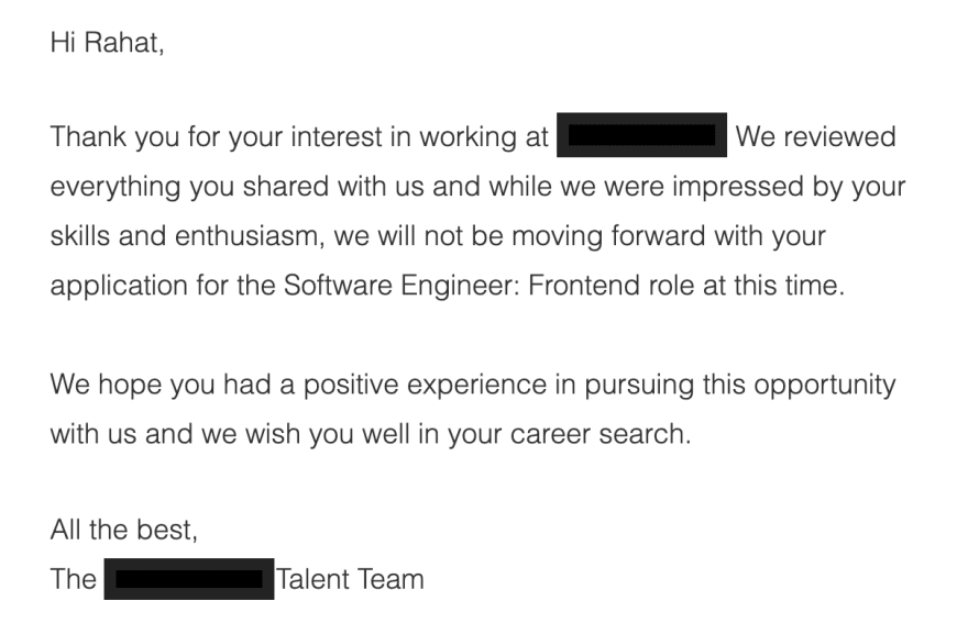 Example of automated rejection letter