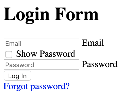 Login form without styles