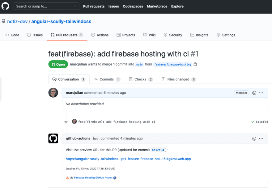 Preview URL created by Firebase Action