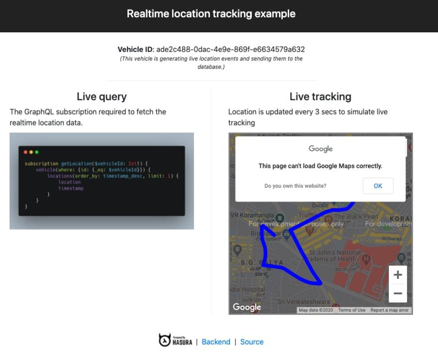 realtime location tracking app hasura graphql and yugabytedb distributedsql tutorial screenshot