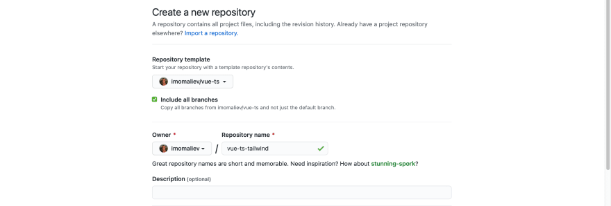 Create repo from vue-ts template