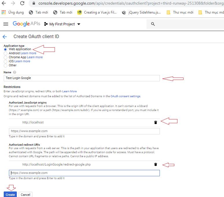 login google using php