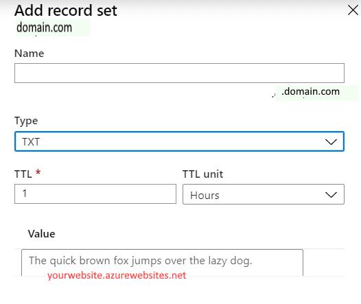 adding a TXT record set