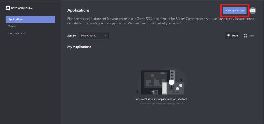 **Image: 1** *Creating a new Discord application*