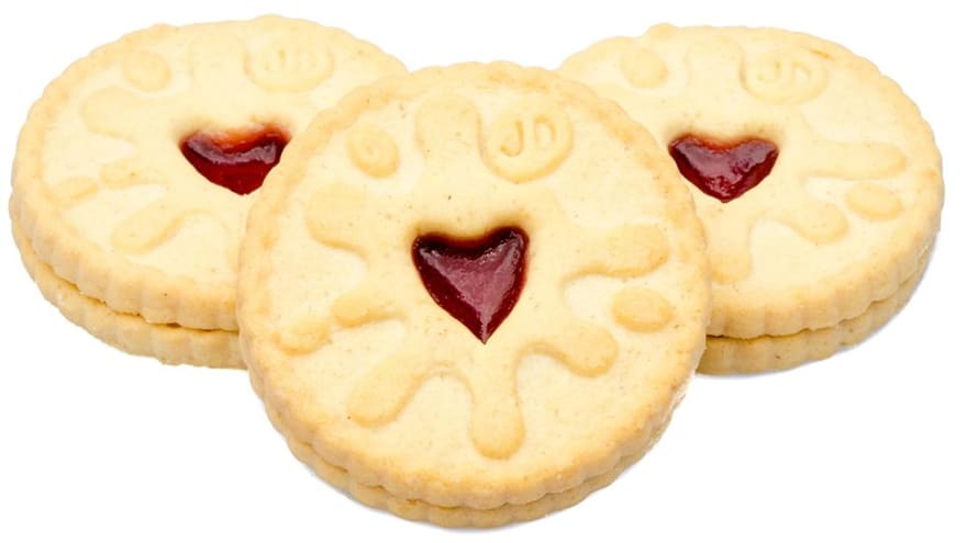 A circular biscuit with a centre of jam in the shape of a heart