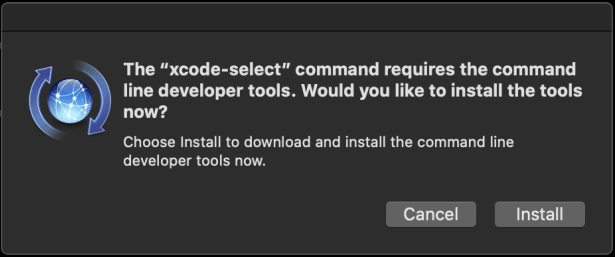 Prompt after running Xcode-select -install